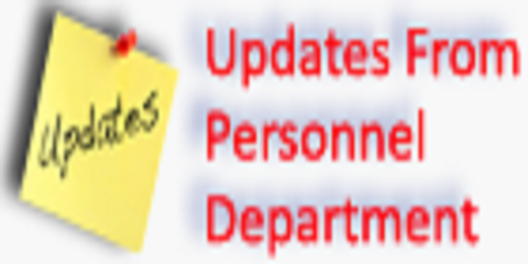 Updates from personnel department